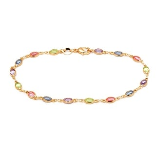 Peermont Jewelry 18k Goldplated Multi-colored Crystal Oval Link Anklet