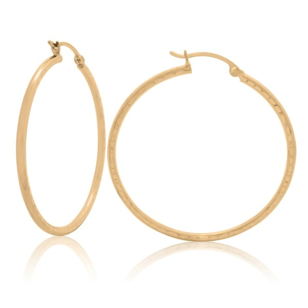 14k Yellow Gold Hammered 40mm Hoop Earrings