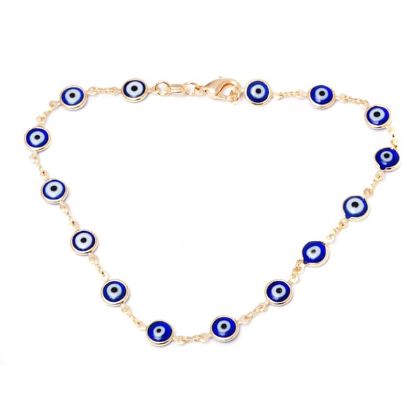 18k Goldplated Blue Crystal Evil Eye Anklet
