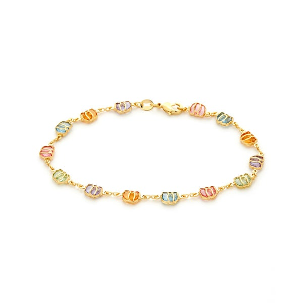 18k Goldplated Multi-colored Crystal Elephant Anklet
