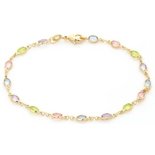18k Goldplated Oval Multi-colored Crystal Anklet