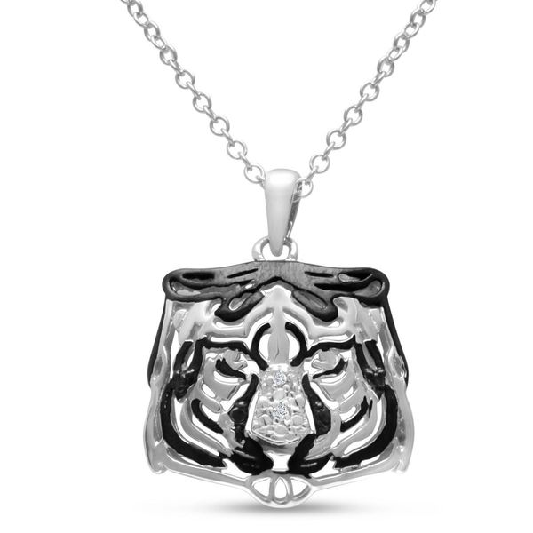Sterling Silver White Diamond Accent Tiger Necklace