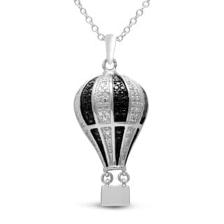 Sterling Silver Black/ White Diamond Accent Hot Air Balloon Necklace