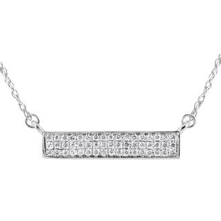 14K White Gold 1/10ct TDW Triple Row Diamond Micropave Fashion Necklace (I-J, I1-I2)