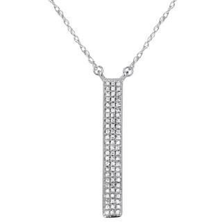 14K White Gold 1/6ct. TDW Triple Row Diamond Micropave Fashion Necklace (I-J, I1-I2)