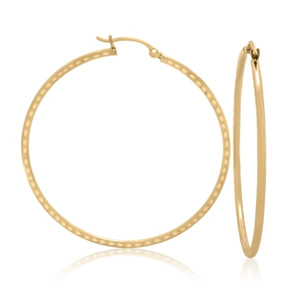 14k Yellow Gold Hammered 50mm Hoop Earrings
