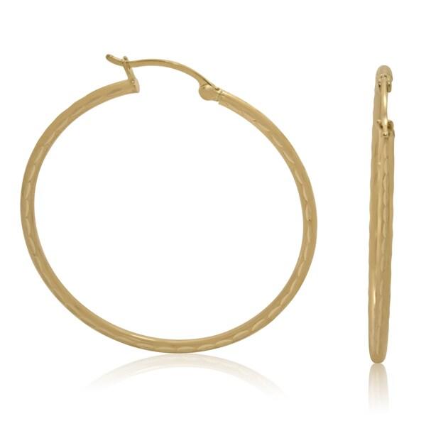 14k Yellow Gold Diamond-cut 35mm Hoop Earrings