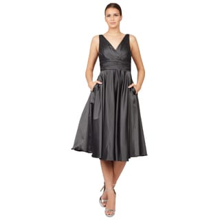 ML Monique Lhuillier Women's Grey V-Neck Midi Cocktail Dress