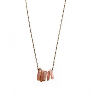Antique Goldtone Tea Rose Quartz Necklace (China)