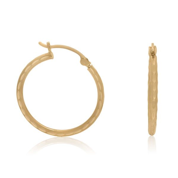 14k Yellow Gold Diamond-cut 20mm Hoop Earrings