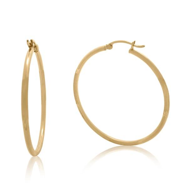 14k Yellow Gold Brushed Diamond-cut 36mm Hoop Earrings