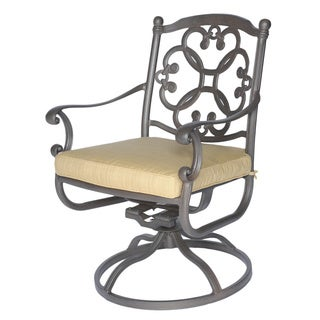 Somette Athens Cast Aluminum Outdoor Swivel Dining Chair and Cushion