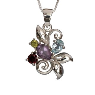 Sterling Silver Natural Stones Floral Design Necklace (Thailand)