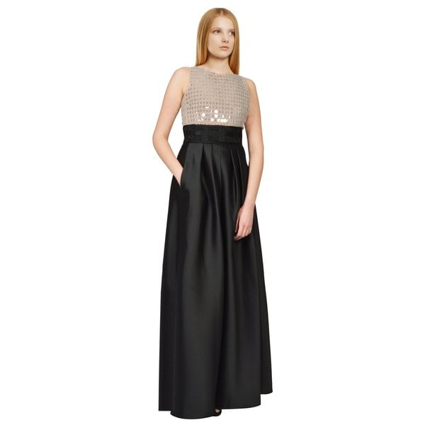 Carmen Marc Valvo Women's Ivory and Black Two-Tone Sleeveless Sequin Gown
