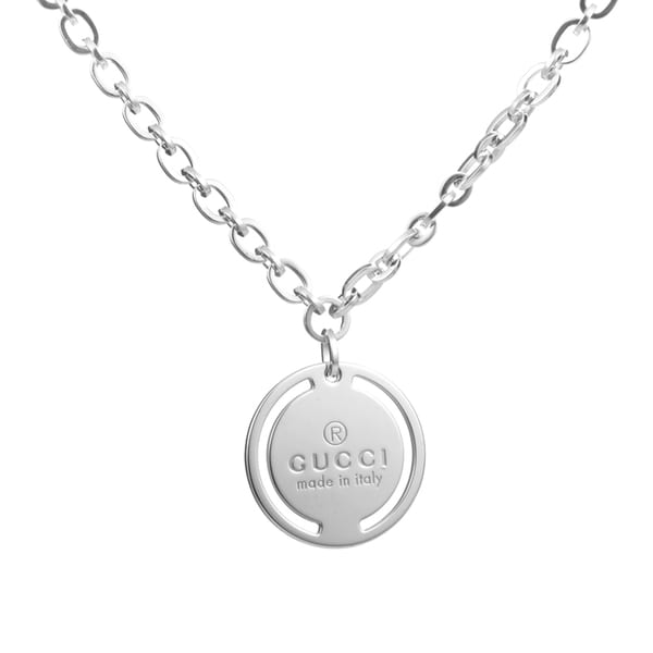 Gucci Sterling Silver Signature Pendant Necklace
