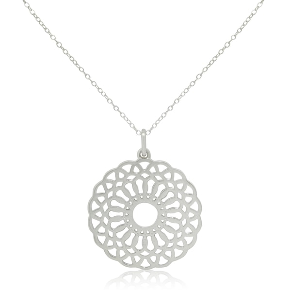 Sterling Silver Cut-out Round Floral Pendant