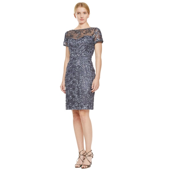 Sue Wong Women's Grey Short Sleeve Embroidered Sequin Dress