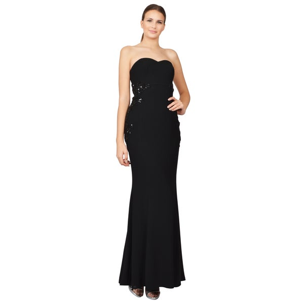 ML Monique Lhuillier Women's Black Crepe Beaded Strapless Gown