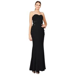 ML Monique Lhuillier Women's Black Crepe Beaded Strapless Gown