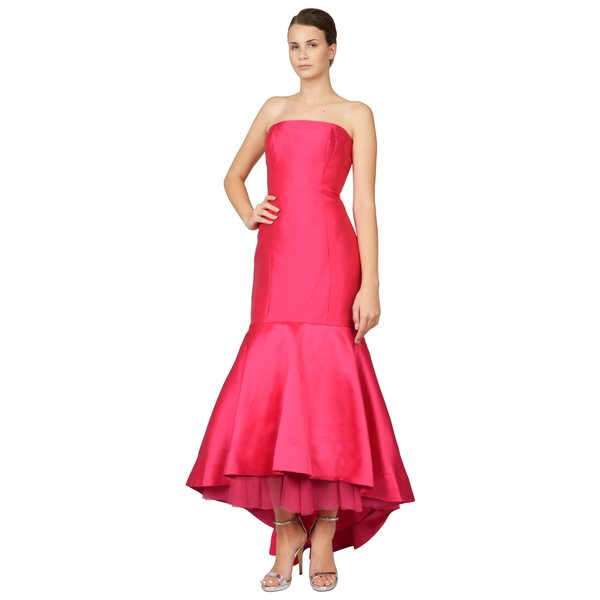 ML Monique Lhuillier Women's Hot Pink Strapless Trumpet Hem Gown