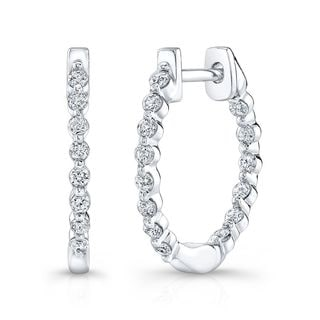 Platinum over Silver 1/2ct TDW Diamond Hoop Earrings (H-I, I1-I2)