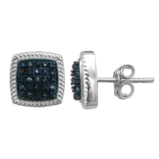 Sterling Silver Blue Diamond Accent Square-shaped Stud Earrings