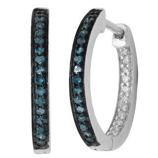 Sterling Silver Blue and White Diamond Accent Hoop Earrings