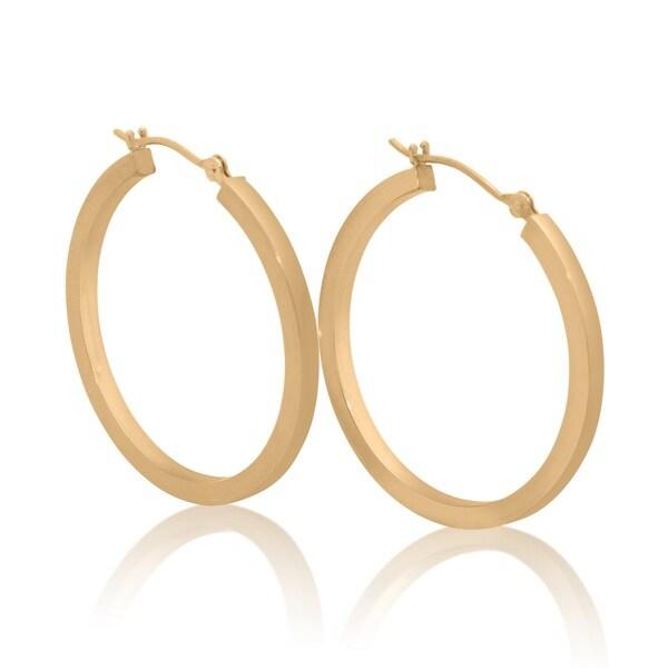 Gioelli Designs 14k Gold 30mm High Polish Round Hoop Earrings