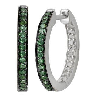 Sterling Silver White and Green Diamond Accent Two-tone Hoop Earrings