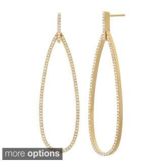14k Gold 1 1/10ct Diamond Tear Drop Dangle Earrings