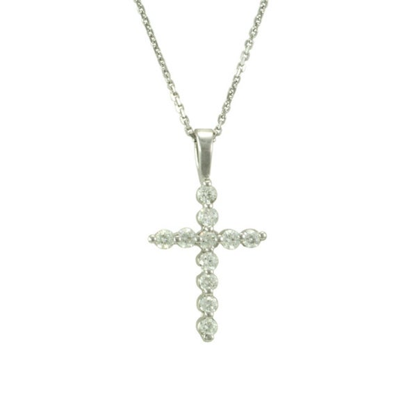 14k White Gold .35ct TDW Shared Prong Cross Necklace