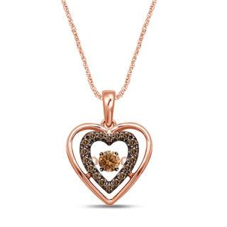 Unending Love 10k Rose Gold 1/10ct. TDW Brown/ Champagne Diamond Movable Glittering Stars Pendant