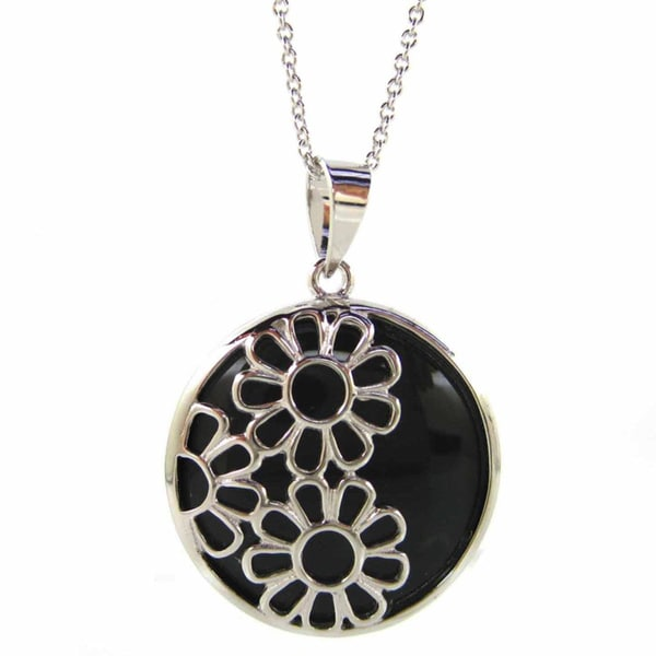 Kabella Sterling Silver Black Agate Daisy Floral Pendant