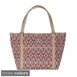 Rose Tree Ikat Designer Geometric Tote Bag