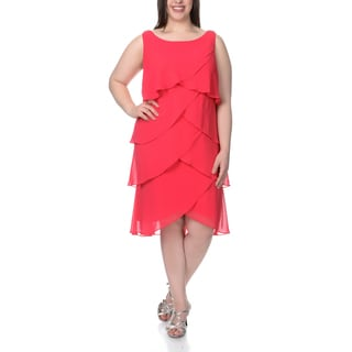 S.L. Fashions Women's Plus Size Tulip Tiered Party Dress