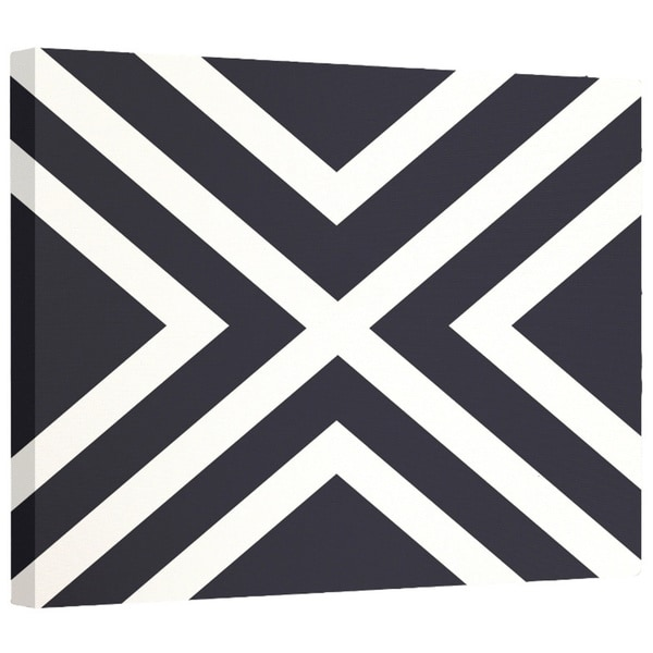 E by Design Navy Blue/ Blue/ Yellow Stripe Print Wall Art (12 x 12)