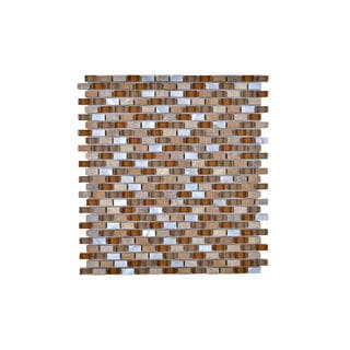 Seashell Tempered Glass and Stone Wall Tile