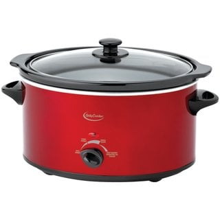 Betty Crocker BC-1544C Metallic Red Oval Slow Cooker with Travel Bag