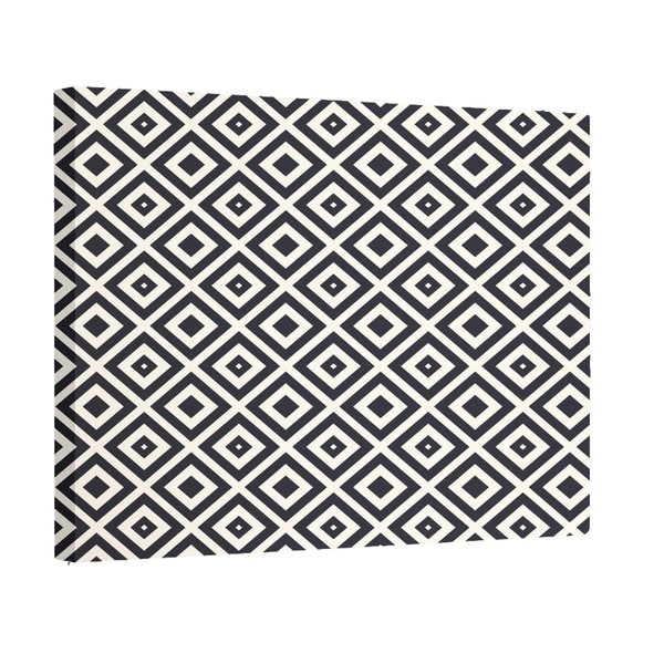 E by Design Navy Blue/ Teal / Dark Grey Geometric Print Wall Art (16 x 20)