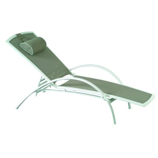 Aluminum White/ Taupe Sling Stacking Chaise