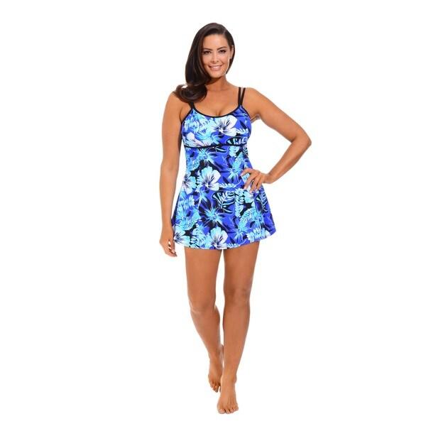 Blue Techno Floral Lingerie Swimdress