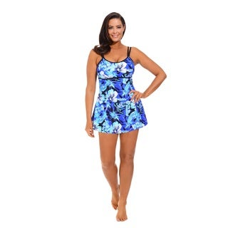 Blue Techno Floral Lingerie Swimdress