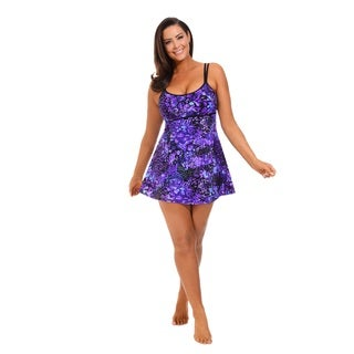 Purple Techno Floral Lingerie Swimdress