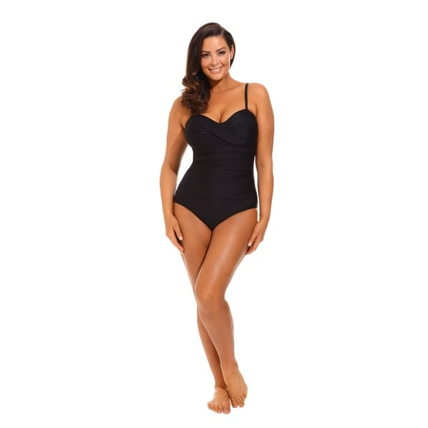 Solid Black Twist Front Bandeau Swimsuit