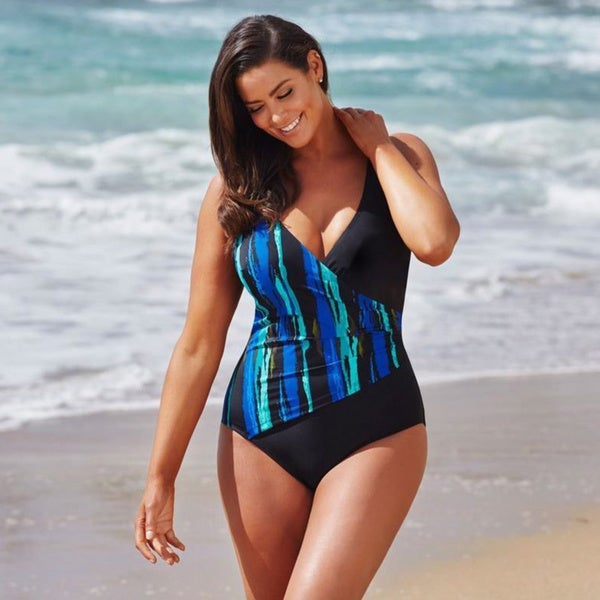 Turquoise V-neck Surplice Swimsuit