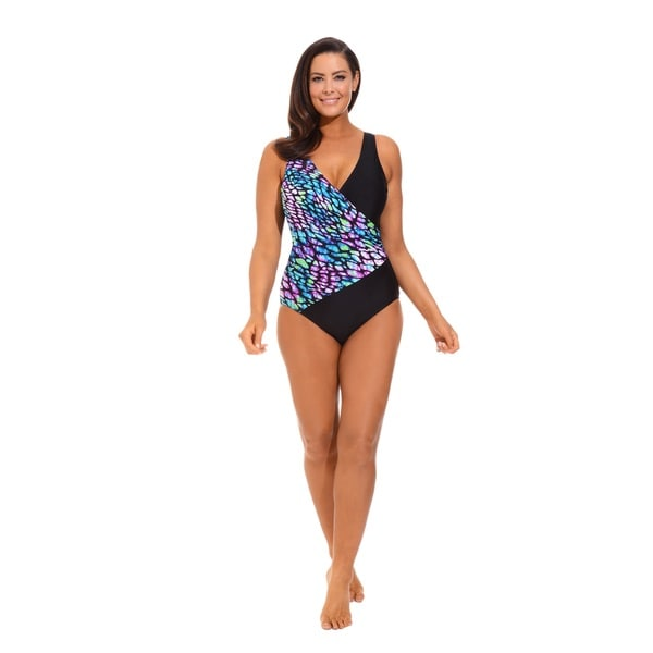 Multi-Colored V-neck Surplice Swimsuit