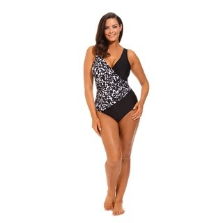 Black/ White V-neck Surplice Swimsuit