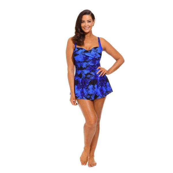 Blue and Black Twist Front Tank Dress