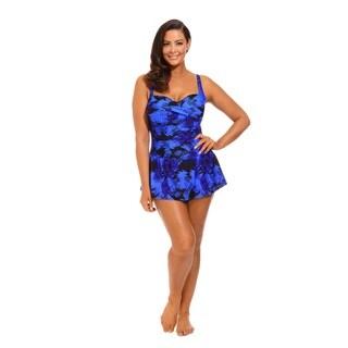 Blue and Black Twist Front Tank Dress