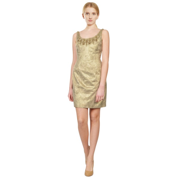 Carmen Marc Valvo Women's Gold Metallic Jacquard Scallop Beaded Dress